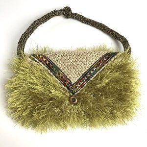 VINTAGE Handmade Knit Purse Clutch Gold Green
